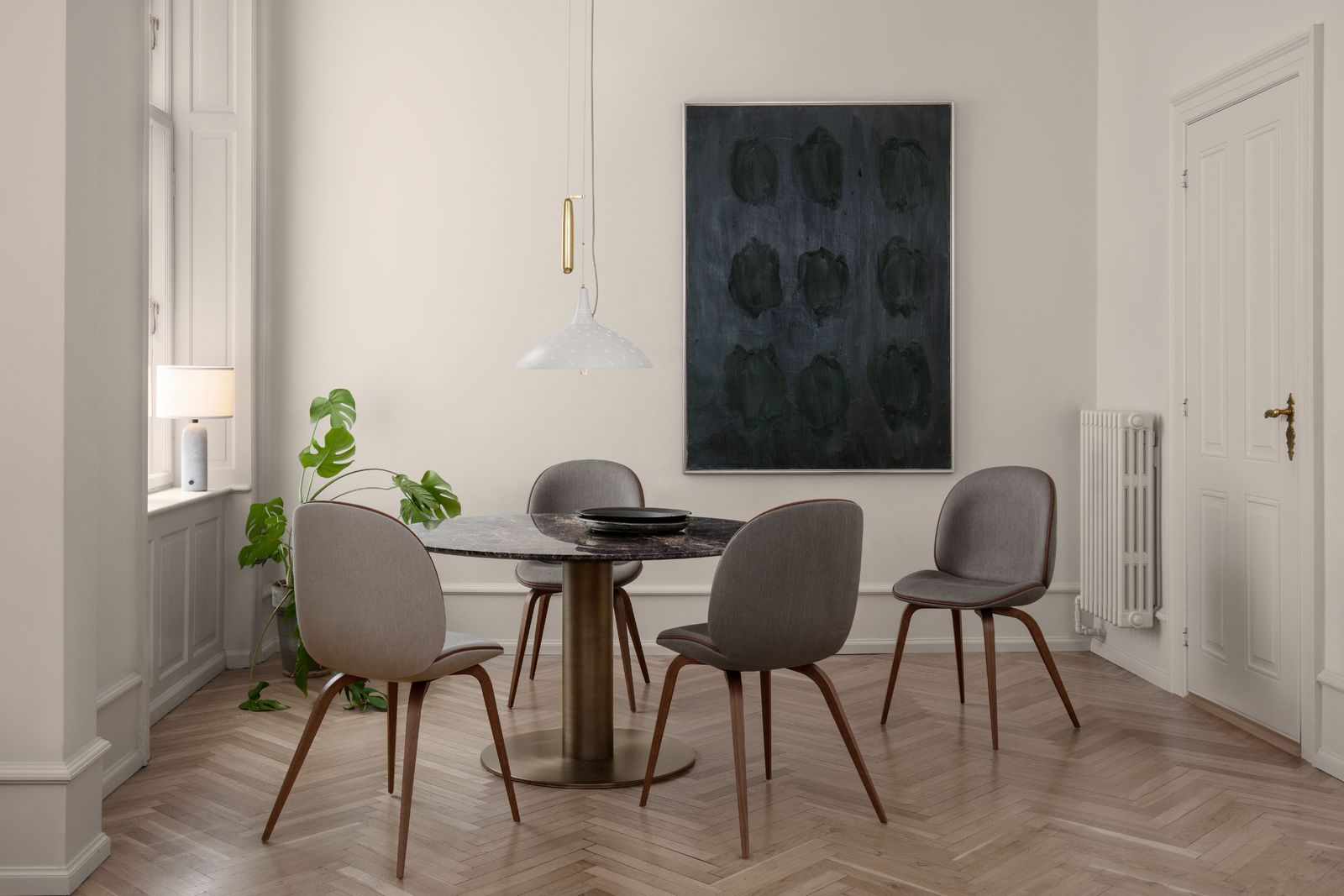 Beetle Dining Chair - fully upholstered - wood base