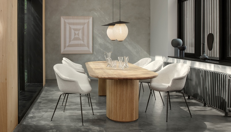 Bat Dining Chair with Moon Dining Table & Satellite Pendant