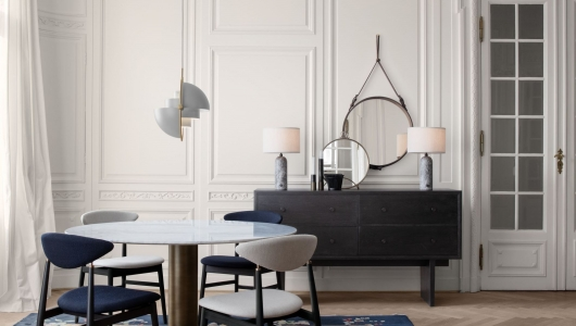 Gubi Mirrors, Adnet Mirror, Randaccio Mirror, Private Sideboard, Gravity Lamo, Mategot Pot,