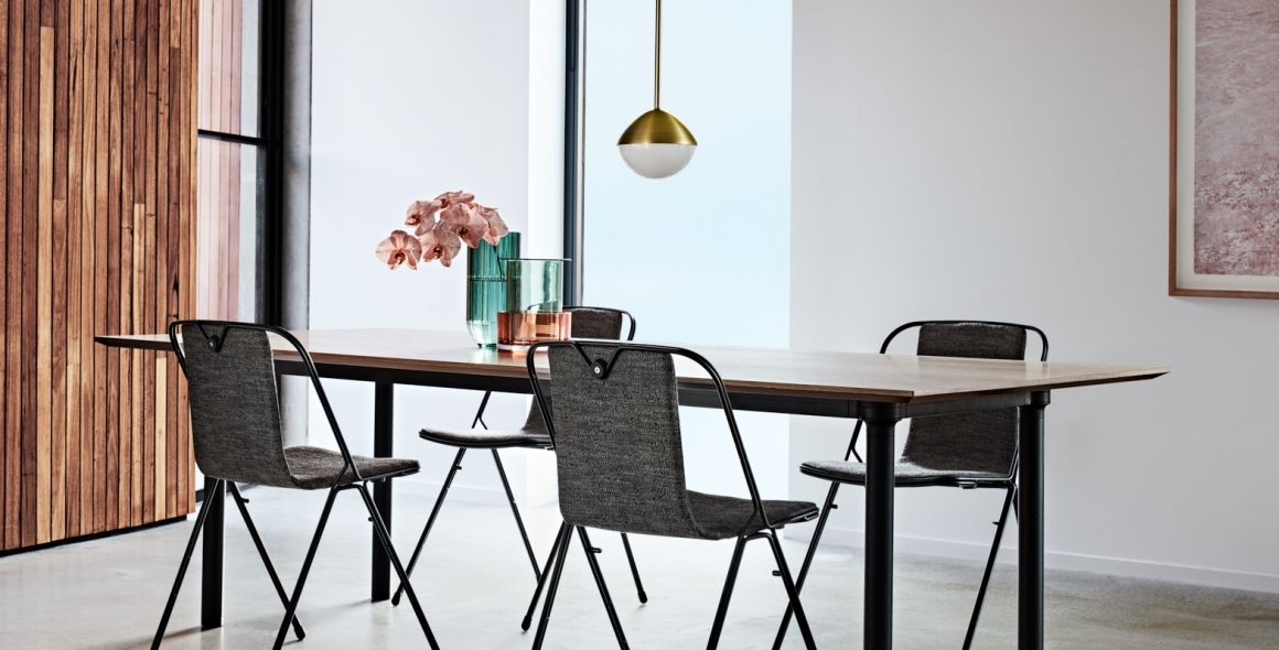 NAU collection 2019, Chameleon Table designed by Adam Goodrum, Strand chair designed by Adam Cornish, Jolly pendant designed by Kate Stokes
